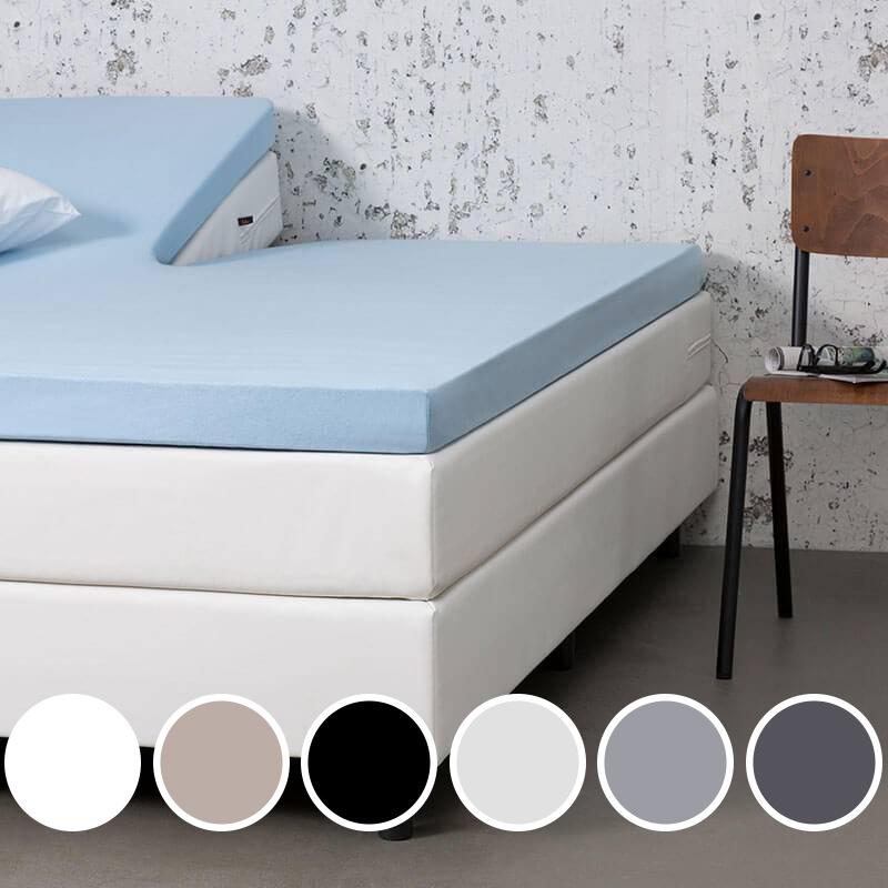 Dekbed-Discounter Jersey Stretch Splittopper Hoeslaken Kleur: Licht grijs, 160 x 200/210/220 cm | 8719909002221